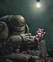 El fulgor de su sonrisa parpadeó, cuando dio a luz a aquel minúsculo prototipo de ser cableado, que emitía estridentes chirridos, inaugurando sus recién estrenadas bombillas de litio