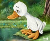The ugly duckling upset about no one accepting him.