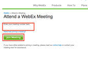 Step 1: Enter VC Session 'Meeting Number' + Password