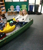 Read-O in the boat with my 5K friend.