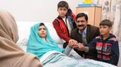 Malala and Family at Birmingham Hospital