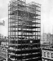 Steel skyscraper being constructed
