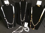Ribbon Layered Necklaces / With Earrings