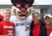 Fans posing with Bearcat