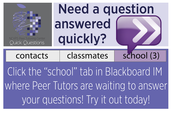It´s Wednesday!  Go to BB IM and find a Peer Tutor.  Ask them at least 1 question.