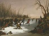 Ojibwe playing Lacrosse