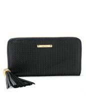 Mercer Zip Wallet - Black Basket Weave