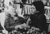 Morrie Schwartz (with Mitch Albom to the right)