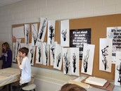 Beginnings of trees blown with black paint - Grade 4