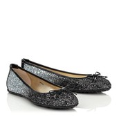 Black Flats with Silver Sparkles