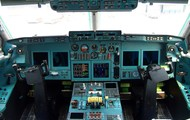 Cockpit of a commercial airliner