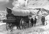 Conestoga wagon on the Oregon Trail.