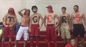 PHS Boys show their spirit at girls volleyball!
