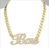 PAVE RHINESTONE BAE CHARM METAL NECKLACE