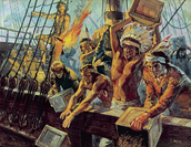 Native Americans throwing teas into the harbor