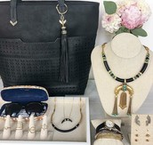 Bag, Earrings, Necklaces