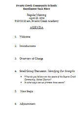 Agenda for April 20, 2016 Meeting