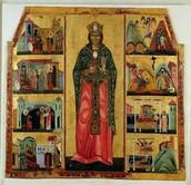 Maestro di Calci, Dossale di Santa Caterina con storie della sua vita, II metà del XIII secolo, tempera e oro su tavola.