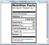 Sugar Packet info