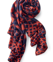 Union Square Scarf - Marine Blue/Rich Red Ikat, $59