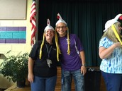 Mrs. Shoe and Mr. Fisher in chicken hats, too