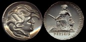 Ancient coins, picturing Medusa and Perseus