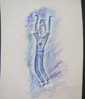 Student figure drawing with crayon rubbings