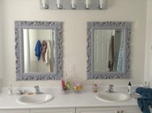 2 grey baroque style mirrors