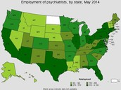 Employment of Pyschiatrist by state in May 2014