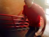 Ryan running up the stairs