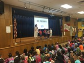 Ms. Zamarron's PreK Panthers perform a skit on sharing at SEL assembly!