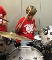 Lucas at the Drum set