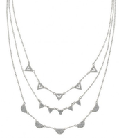 Pave Chevron Necklace- Silver