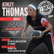 Akron Racer Ashley Thomas is in town soon! Hitter's workshop is near!