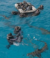 USS Indianapolis crew in the water