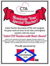 CABOT CTA TEACHERS WITH HEART AWARD