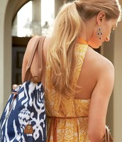 navy ikat How Does She Do It bag