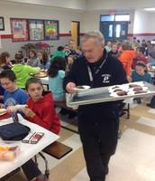 Mr. Sefton helped handout brownies as well.