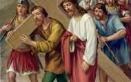 5.Szymon Cyrenejczyk pomaga nieść krzyrz Jezusowi.