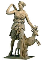 Daughter of Zeus and Leto. Twin sister of Apollo.