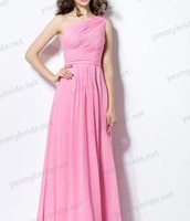 Asymmetrical One Shoulder Pleats Rose Pink Long Shirred Chiffon Bridesmaid Dress