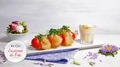 Brocheta de Pescado Blanco, Tomates Cherry y Aliloil