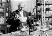 Thomas Edison in his lab in Menlo Park