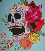 A drawing I did of a skull in honor of the Day of the Dead