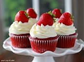 Red Velvet Cupcakes With Strawberry Garnish