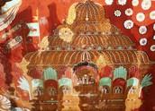גובינדה ראג'ה בתהלוכה - ציור תקרה