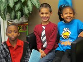 2nd grade students are all smiles.