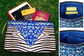 Capri Pouch Jeweled Zebra Reg $36 -50% sale $18