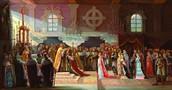 """По легенде, однажды к воротам Новогрудского замка подъехали несколько уставших всадников. Вооруженные воины, одетые в звериные шкуры, сидели на низкорослых лошадях. Одни еле держались за гривы, другие истекали кровью. Сразу было видно - это балты, изгнанники из литовских пущ. На вопрос стражи """"Кто такие?"""" - предводитель отозвался Миндовгом. Секунда - и ворота закрываются за беглым литовским князем и его сподвижниками. Миндовг первый раз почувствовал себя в безопасности после многих дней лесного бегства.     Приблизительно так появился Миндовг в Новогрудском замке. На тот момент перед вечем Новогрудка стояла проблема провозгласить нового князя. И как раз Миндовг устраивал все группы Новогрудского вече, как абсолютно нейтральная личность и боевой сподвижник умершего Новогрудского князя Владимира. Основным условием для провозглашения Миндовга хозяином княжества было принятие им христианства. Согласно Густынской летописи, став князем Новогрудка, Миндовг крестился по православному обряду."""