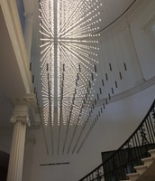 """We admired a glass sculpture in the lobby of the museum. """"It looks like the Brooklyn Bridge at night!"""""""